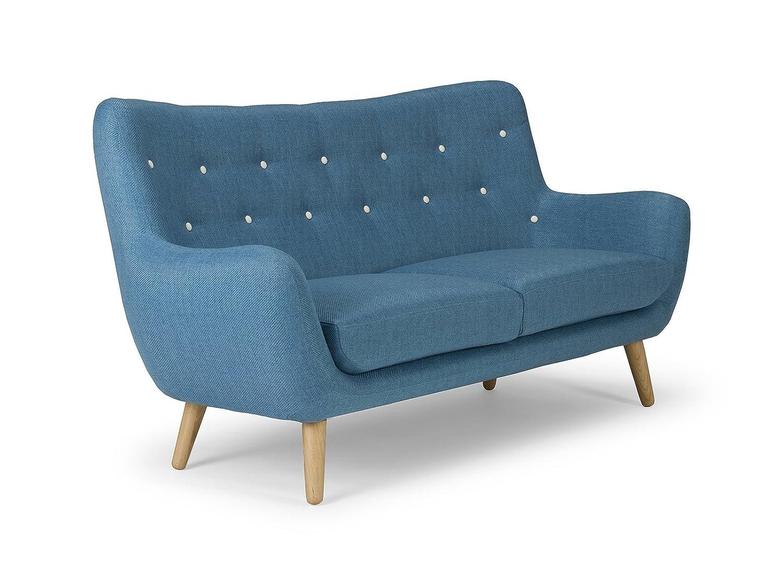 massivum Sofa Retro 180x95x80 cm Flachgewebe-Stoff blau
