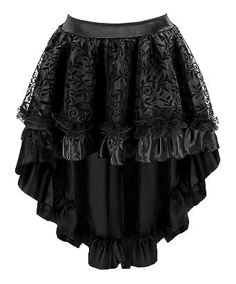 d6ff29c334a5 Blidece Women's Lace Steampunk Gothic Vintage Satin High Low Corset Skirt  with Zipper Black S
