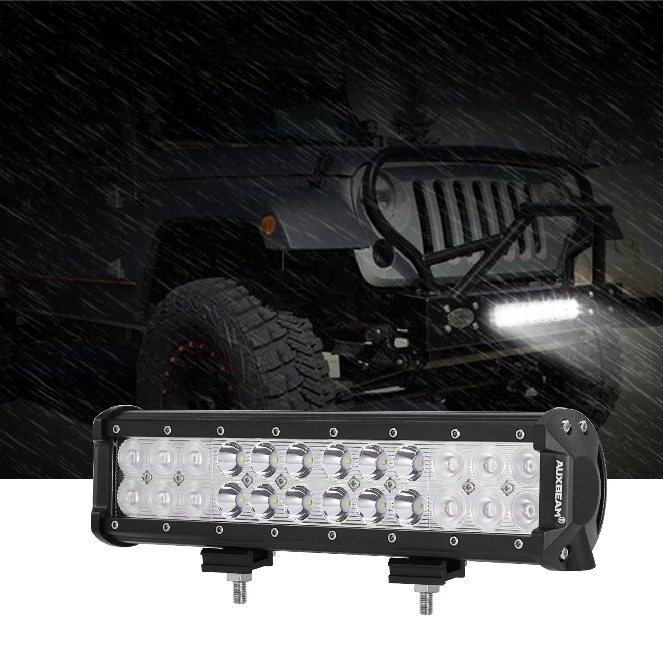 Auxbeam 12 Inch LED Light Bar with Wiring Harness 72W 7200lm Light Bar Combo Beams 24pcs 3W Led Chips Waterproof Led Work Light for Truck Pickup Jeep SUV ATV UTV 4332995591