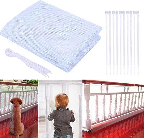 Red de Seguridad Malla 3 Metros Red de Protección del Balcón para Bebé Niños Mascotas, Malla de Seguridad para Escaleras Balcones Escaleras Patios, Protección Infantil (Blanco, 3M): Amazon.es: Bebé