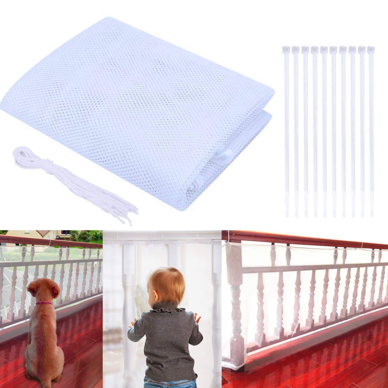3m, Wei/ß Schutz-Netz f/ür Innen- und Au/ßentreppen Balkon Patios Kinder Haustier Verstellbares Balkon Treppengel/änder Treppenhaus Sicherheitsnetz Sicherheit Net Balkon-Netz Kindersicherheitsnetz