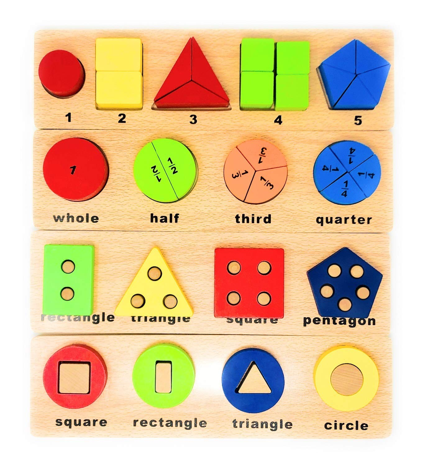 Speechteach Wooden Block Montessori Toys for Toddlers That Teach Basic Developmental and Educational Concepts. Early Educational Play Therapy Toys for 2 to 5 Year olds. Set of 4, 14'' Learning Toys.