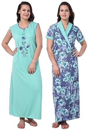 928aab8c70 Noty®- Girls Women s 2 Pcs Comfy Hosiery Cotton Nighty with Robe - Night