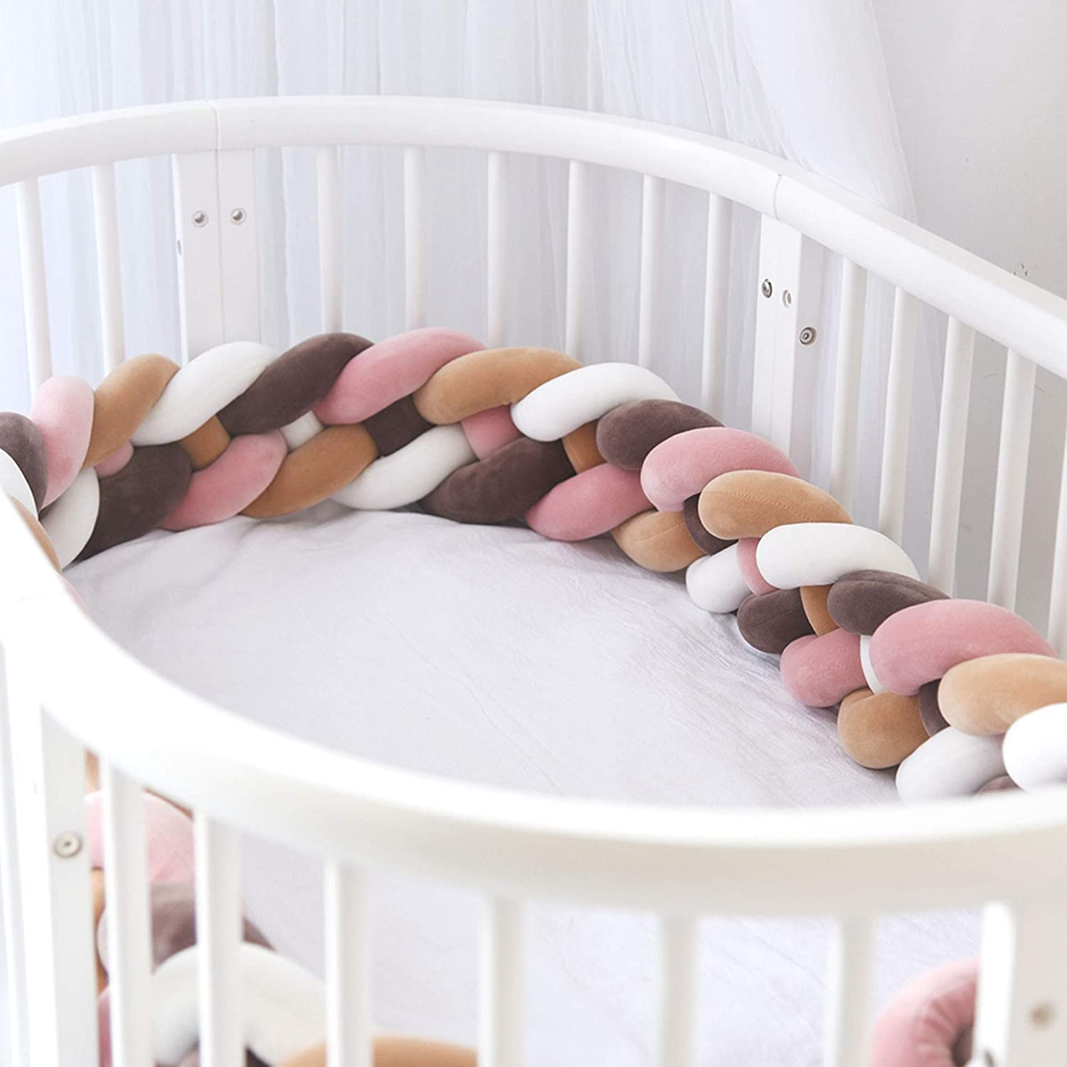 Nursery Cradle Bed Safety Rail Padding Cot Sleep Bumper LCYCN Baby Heighten Crib Bumper Pads Knotted Braided Ball Pillow Kids Room Decoration,C