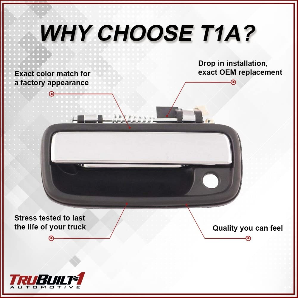 T1A 69220-35030 Fits Front Left Driver/'s Side T1A Exterior Door Handle Replacement for 1995-2004 Toyota Tacoma Chrome Plated and Black Color