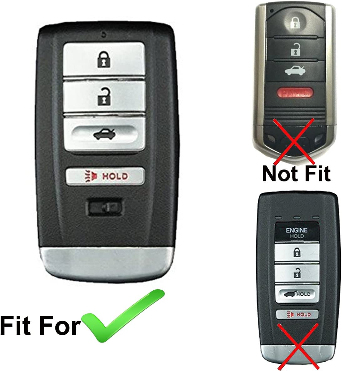 Coolbestda Rubber Smart 4buttons Key Fob Full Cover Remote Case Keyless Protector Jacket for Acura RLX RDX MDX ILX TLX Black