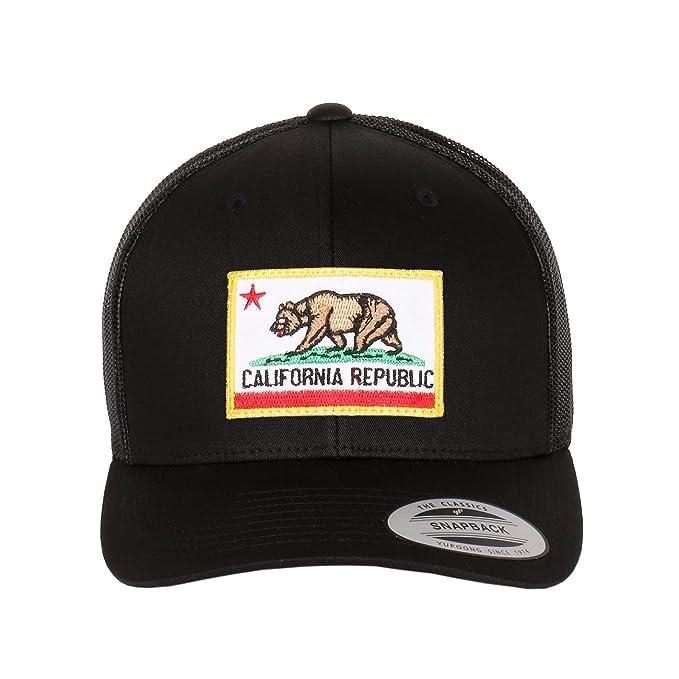 e960c2e6a96fa 1611MAIN California Republic Flag Embroidered Patch On Flexfit Retro  Classic Trucker Hats (Black)