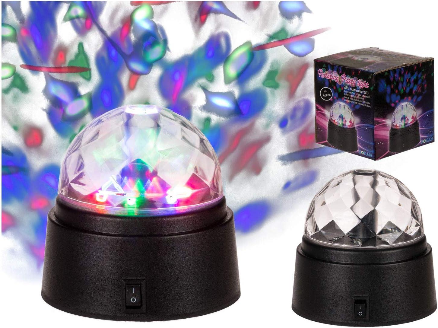 batteriebetrieben Out of the Blue Rotierende Partyleuchte mit farbigen LED circa 9 x 9 cm im Geschenkkarton mehrfarbig