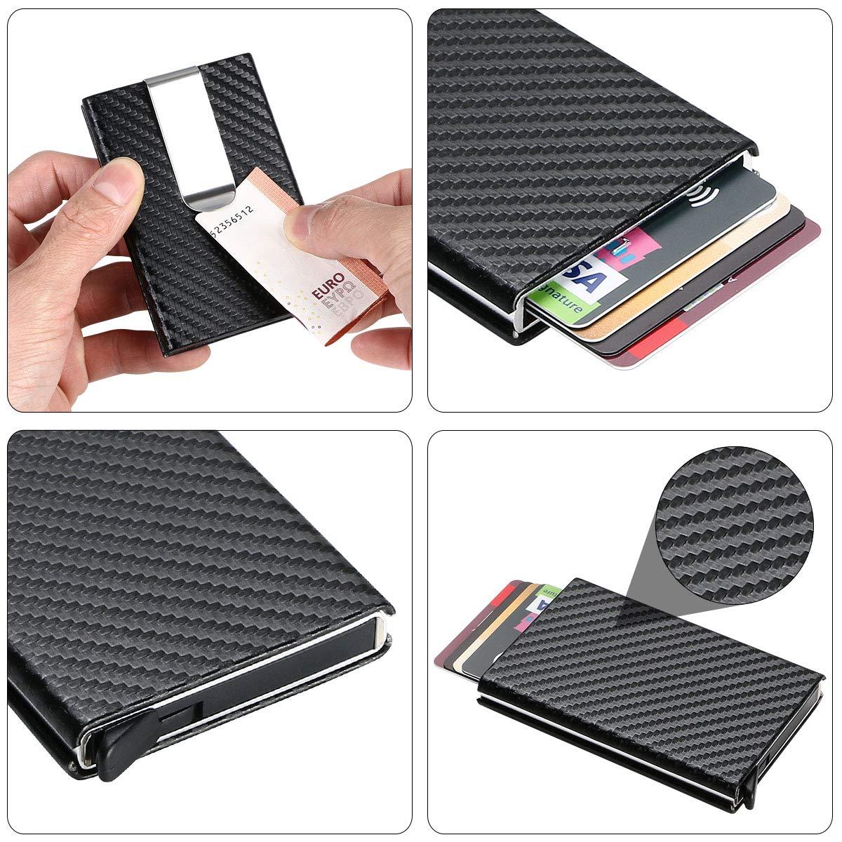 ID 1pcs Argento Portafoglio Elegante Viaggi URAQT RFID Blocking Portafoglio Carte Credito per Uomini e Donne Business Assicurazioni Porta Carte Credito Metallo
