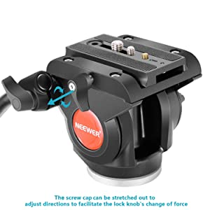 Neewer Heavy Duty Video Camera Tripod Fluid Drag Pan Head with 1/4 and 3/8 inches Screws Sliding Plate for DSLR Cameras Video Camcorders Shooting Filming,up to 11 pounds/5 kilograms(Aluminum Alloy)