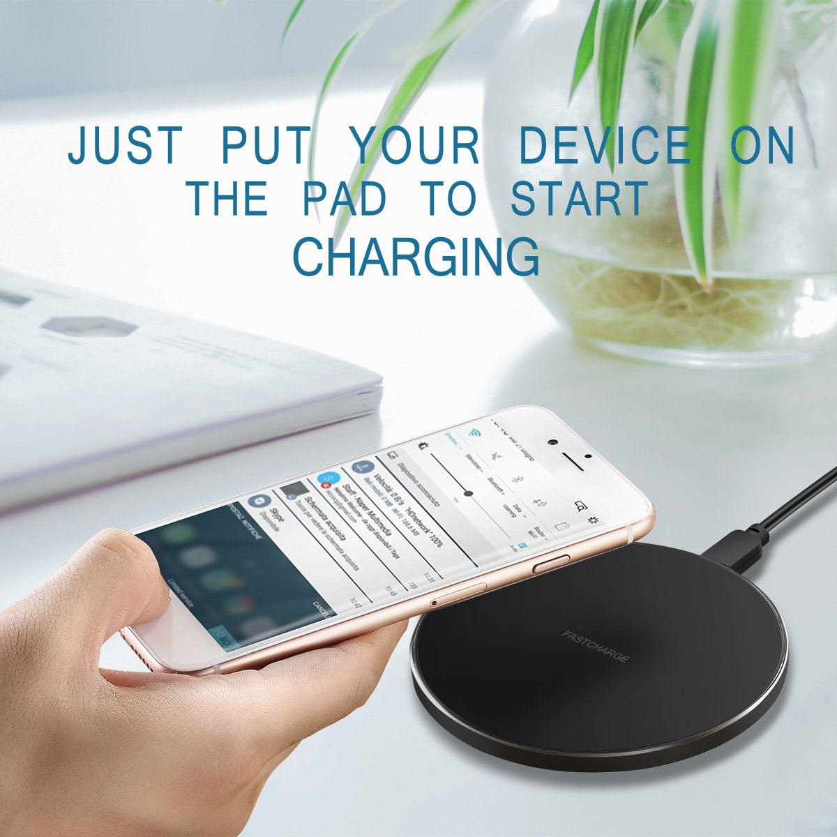 Fast Charger for Samsung Galaxy S8 edge - Wireless Charging Pad for Samsung Galaxy Note 8/S8/S8 Plus/S7/S7 Edge/S6/S6 Edge,Qi Standard Charger for iPhone X/iPhone 8/iPhone 8 Plus(Black)