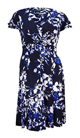 Lauren Ralph Lauren Women\u0027s Plus Flutter Sleeve A-Line Dress (20W, Light  Navy) at Amazon Women\u0027s Clothing store: