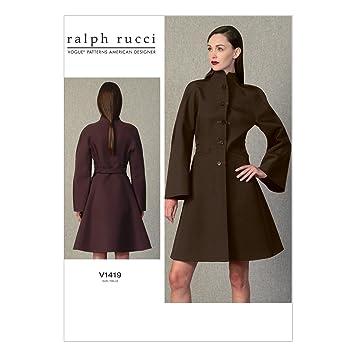 Amazon.com: Vogue Patterns V1419 Misses\' Funnel-Neck Coat Sewing ...