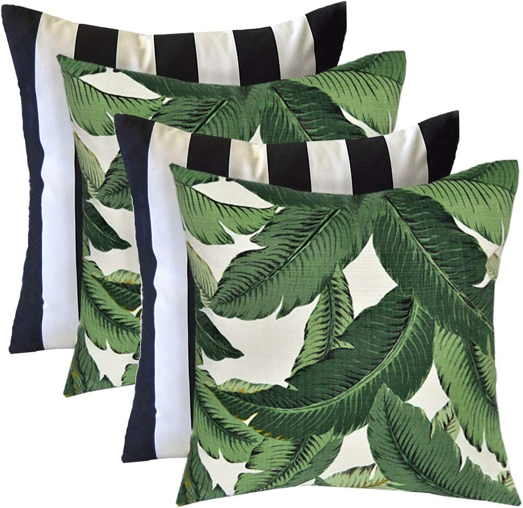RSH Décor Indoor Outdoor Mixed Set of 4 Decorative Square Throw Pillows Made with Tommy Bahama Swaying Palm and Black & White Stripe Fabrics (17