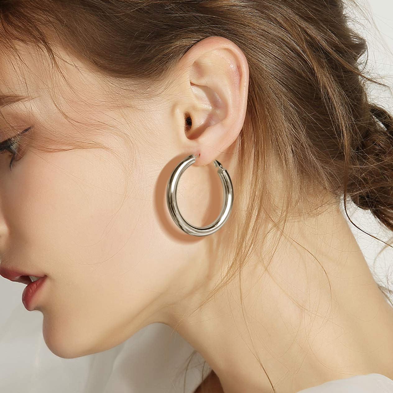 Hoop Earrings 18K Gold Plated 925 Sterling Silver Post 0.98in Thick Tube Very Lightweight Hoops for Women And Girl