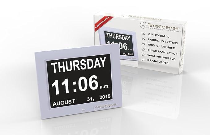 Timekeepers - Top Rated Extra grande pérdida de memoria Digital Calendario DíA reloj. Nuestra demencia reloj muestra la hora, fecha y día, mes y año.