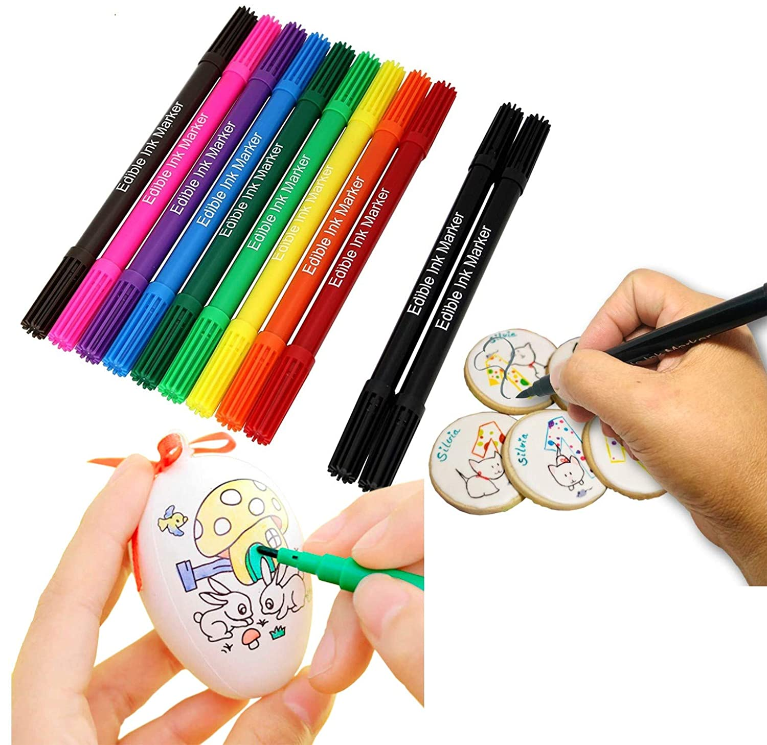 Food coloring Markers Pen set for cooking decorating, 11 Vibrant and deep food rainbow colors perfect for creative Family bakery projects /Cookies supplies kit / Includes 2 black
