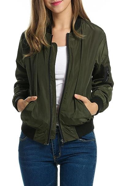 Zeagoo - Chaqueta de mujer, chaqueta biker pilot otoño,chaqueta