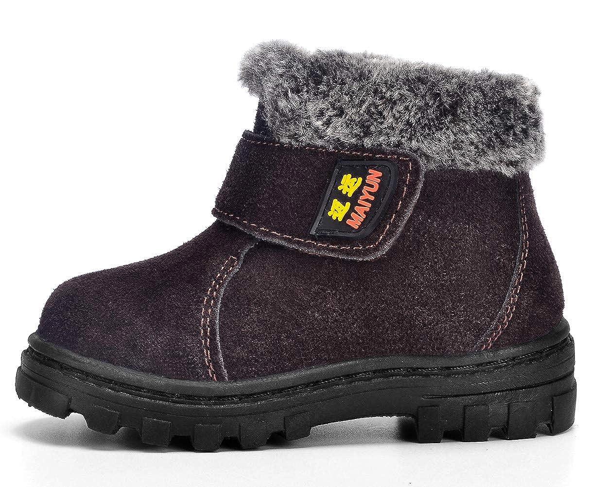 Toddler//Little Kid//Big Kid DADAWEN Boys Girls Suede Leather Outdoor Waterproof Fur Lined Winter Snow Boots 70426TL