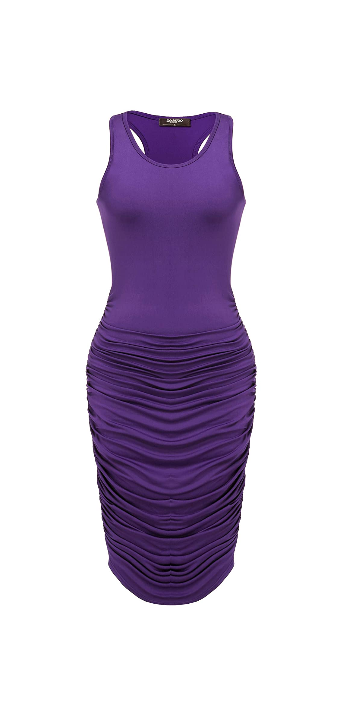 Ruched Bodycon Dress For Women, Midi Stretchy Sleeveless