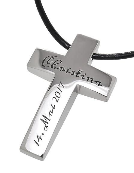 Cadenas colgante grabado personalizado cruz Acero inoxidable ...