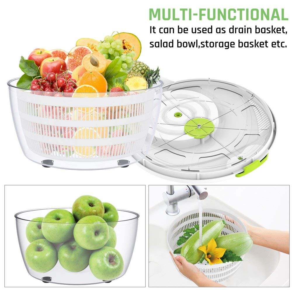 Salad Spinner Dryer,LOVKITCHEN Vegetables & Fruits Dryer with Large 4 Quarts & Quick Dry Design BPA,Ease for Tastier Salads and Faster Food Prep by Lovkitchen (Image #5)