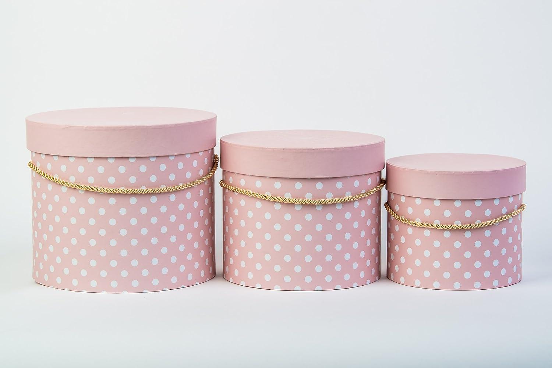 Juego de 3 flores Box caja con decoración puntos, caja regalo con una cordón dorado, con Tapa, sombrero caja Uni, – Caja de almacenaje, cartón, Rosa, 23 x 19 cm, 20 x