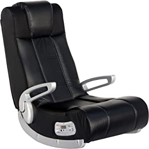 "X Rocker II Wireless SE 2.1 Video Gaming Rocking Foldable Floor Chair with 2 Speakers and 4"" Subwoofer with Port - Highback, Headrest, Pivoting Armrests - Black/Silver, 5127301"