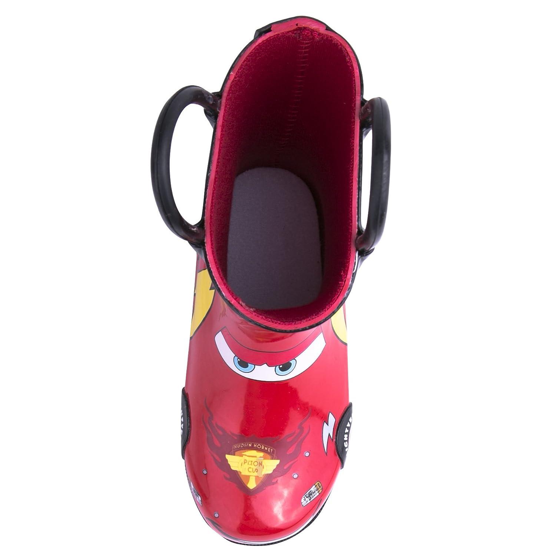 / Disney Cars Kids Boys Lightening McQueen Character Printed Waterproof Easy-On Rubber Rain Boots Toddler//Little Kids