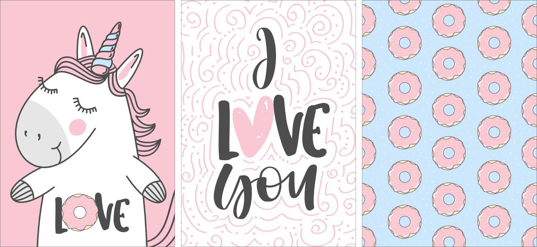 Gerahmte Bilder & Poster POSTORO Einhorn Love Dekoration