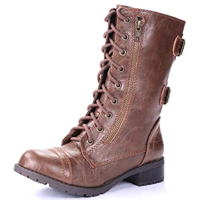 Domesa Women's Military Leatherette Dual Buckle Zipper Lace Up Mid Calf Boots