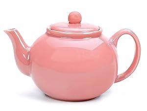 RSVP International Large Stoneware 6-Cup Teapot, Pink,Microwave and dishwasher safe