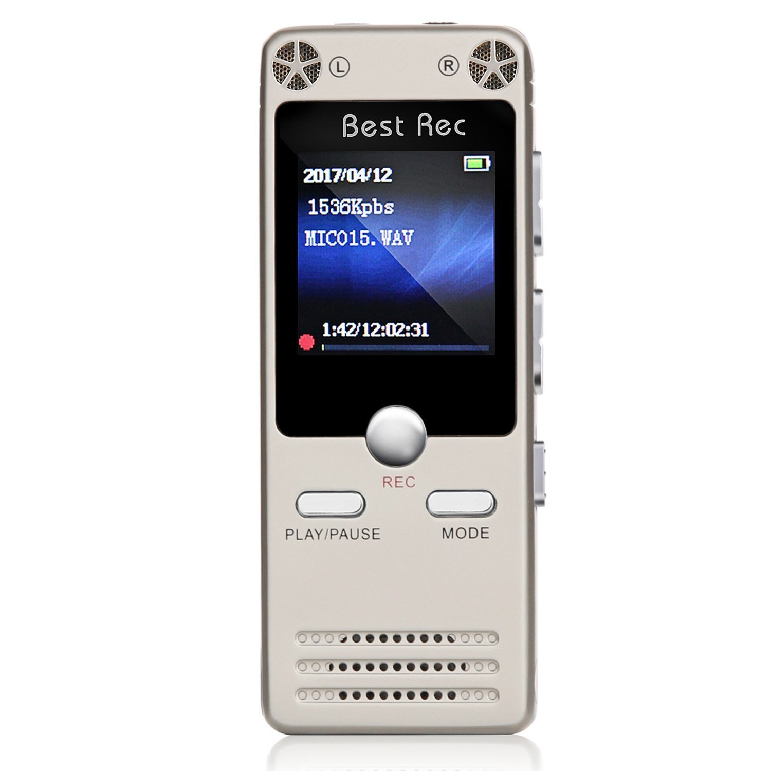 Voice Activated Recorde,8GB Sound Audio Recorder Dictaphone for Lectures Meetings, USB, Rechargeable (Gold)