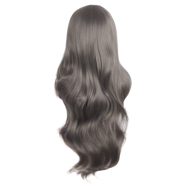 MapofBeauty Charming Synthetic Fiber Long Wavy Hair Wig Women's Party Full Wigs (Silver Grey)