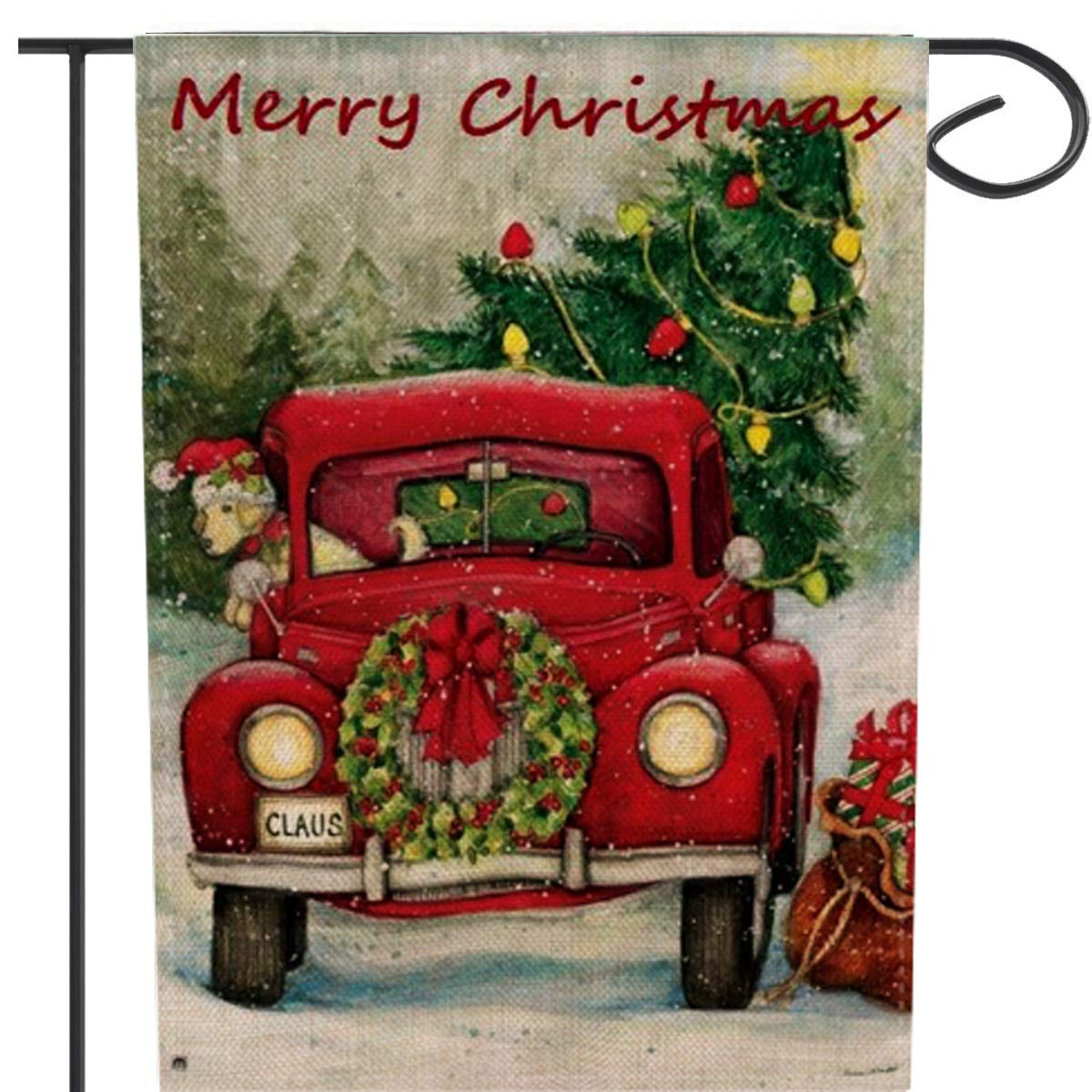 PINCHUANG Double-Sided Decorative Merry Christmas Garden Flag Vintage Tree, Xmas Quote House Yard Flag with Red Truck, Rustic Winter Garden Yard Decorations, New Year Seasonal Outdoor Flag 12'' x 18''