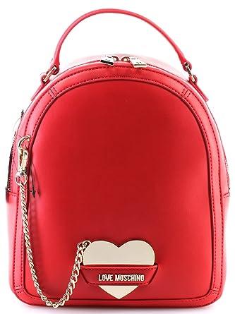 77ddef5744479 Women s Hand Bag Backpack LOVE MOSCHINO Borsa Calf Pu Red Mirror Heart New   Amazon.co.uk  Clothing