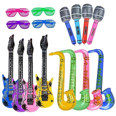 Accesorios de fiesta inflables: paquete de 16 globos (16 guitarras, micrófonos, saxofón