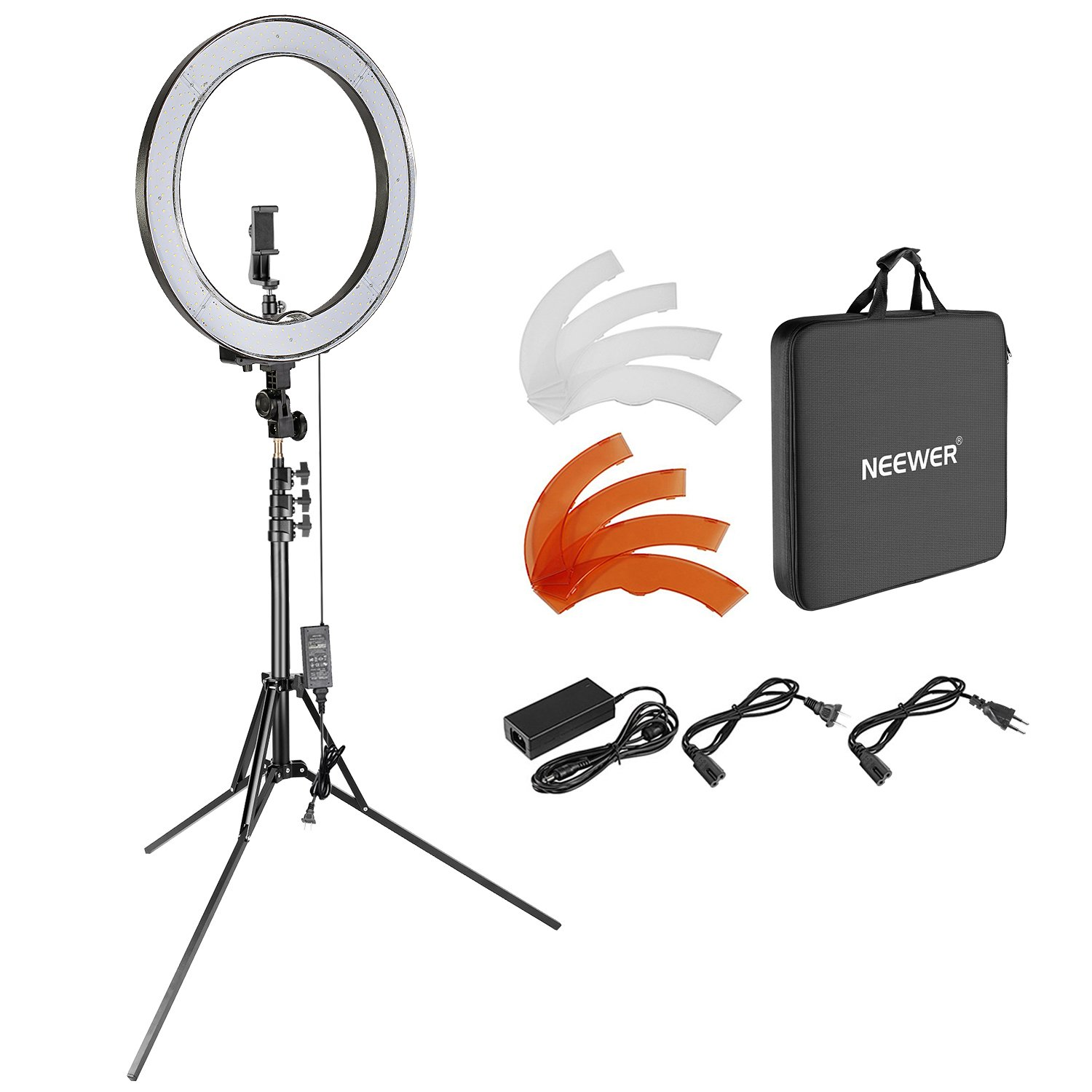 Neewer Upgraded 18-inch Outer Dimmable SMD LED Ring Light with 79-inch Stand, Rotatable Phone Holder for Smartphone/Camera Make up YouTube Video Shooting (EU/US Plug, Bag Included) by Neewer