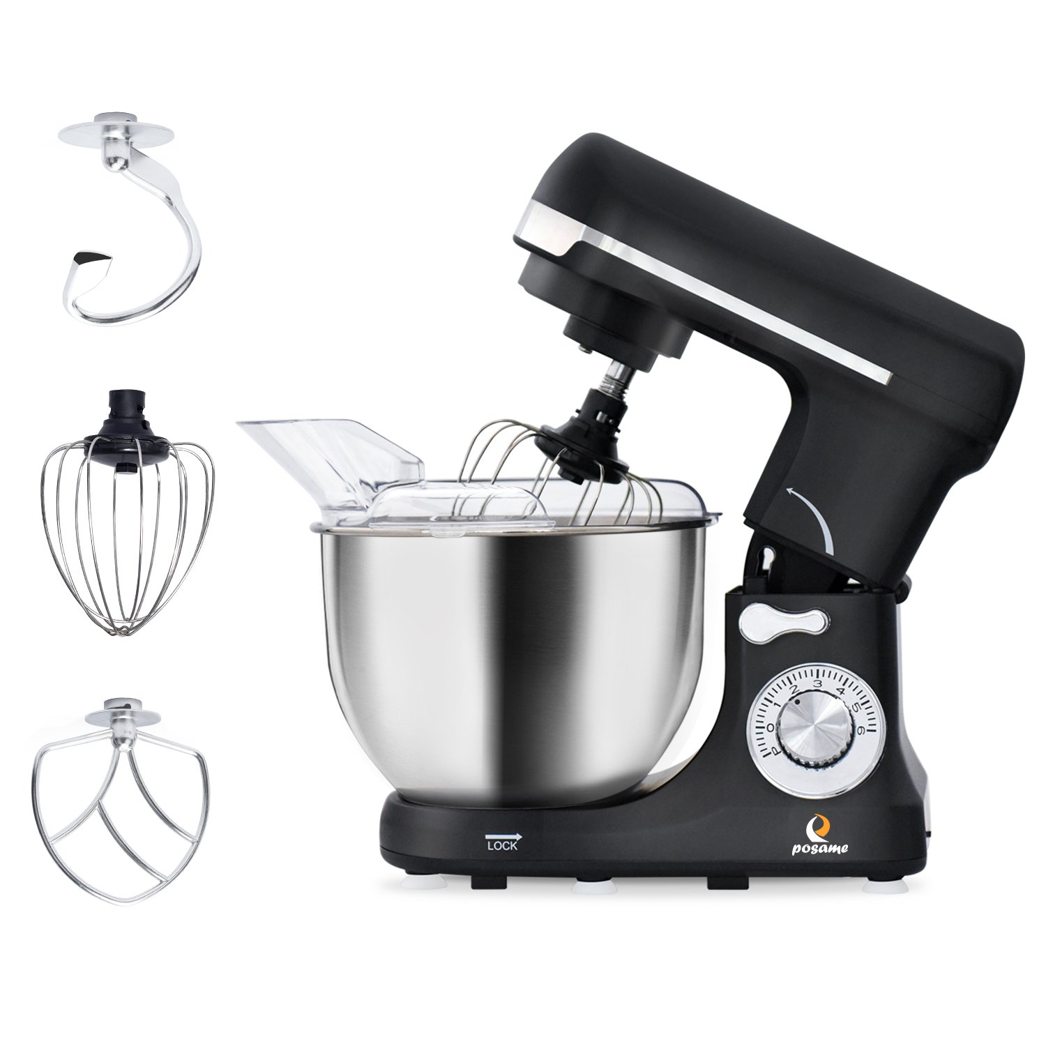 POSAME Stand Mixer 500W 6-Speed Professional Kithchen Mixer Tilt-Head Electric Food Machine with 5-Qt. Bowl,Dough Hook, Whisk, Beaters (Black)