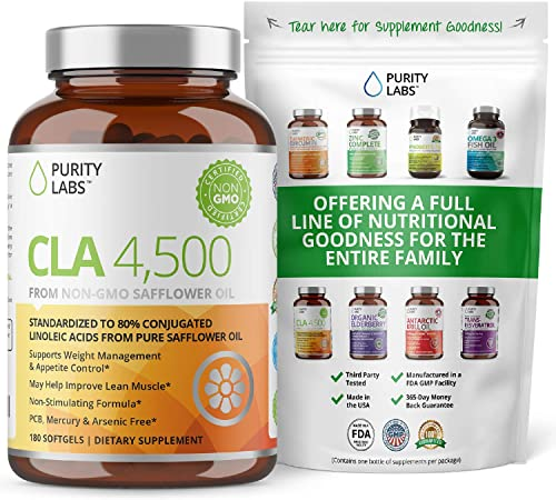 Purity Labs CLA 4,500MG Safflower Oil Number One Weight Loss Fat Burner Supplement 180 Softgels Non-GMO Gluten Free Conjugated Linoleic Acid Pills Belly Fat Burner