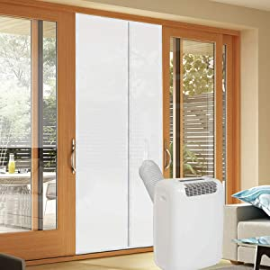 BJADE'S Screen Door Seal Kit for Portable Air Conditioner Unit and Tumble Dryer,36x83'' Seals with Zip and Adhesive Fastener