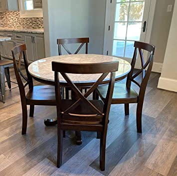 Amazon Com Harper Bright Designs Dining Table Set 5 Piece Round Dining Set With 4 Chairs Wood Dining Table Set Table Chair Sets