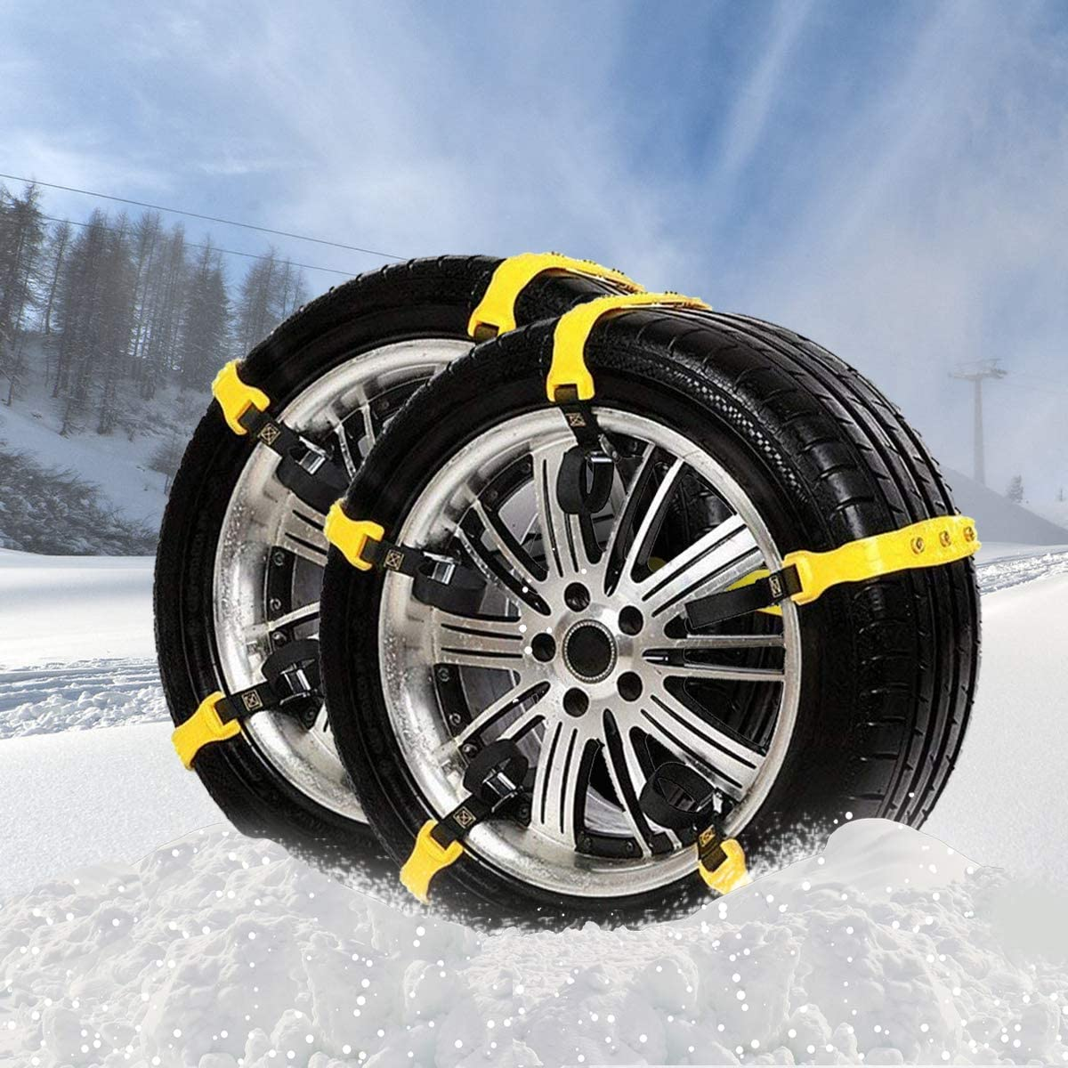 Winter Car Snow Chain 2Pcs Anti-Skid Snow Chains Portable Easy to Mount Emergency Traction Car Snow Tyre Chains Anti-Skid Car Tire Snow Chains Universal Tire Chains