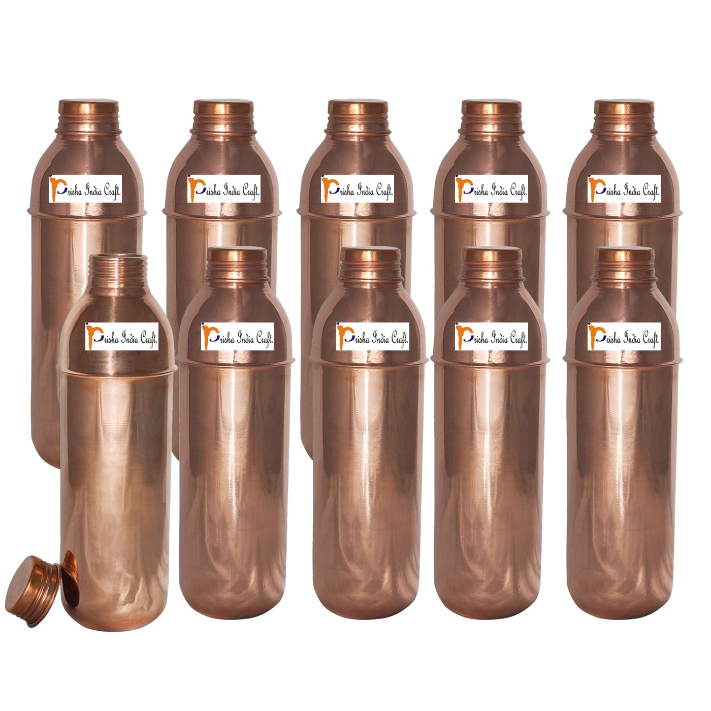 Prisha India Craft (Set of 10) Copper New Bislery Stylish Bottle with Ayurvedic benefited - 800 ML / 27 oz Thermos Bottles - 100% Genuine Copper Water Bottles