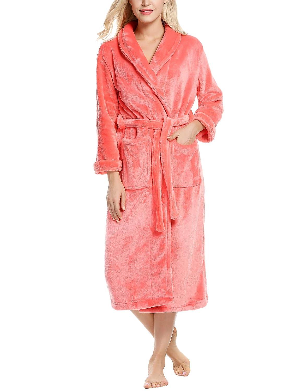 b4f8a4038f Ekouaer Unisex Fleece Robe Warm Plush Bathrobe Long Pajama for Winter Plus  Size at Amazon Women s Clothing store