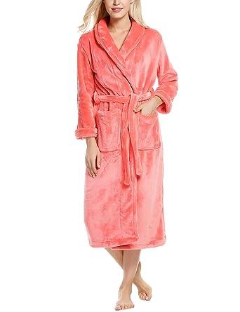 Ekouaer Bathrobe Womens Thick Shawl Collar Turkish Fleece Robes Nightwear  (Coral 36d56ef74
