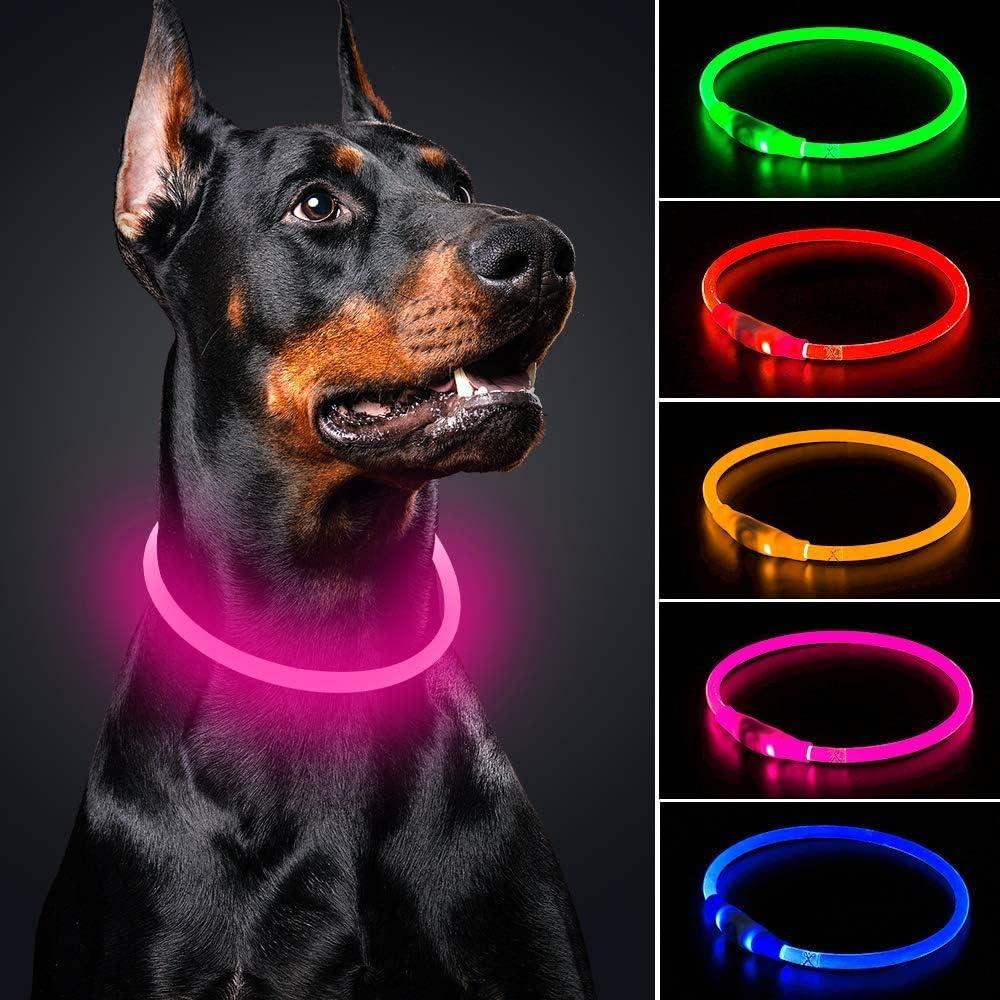 Collar de perro LED Mini USB recargable TPU Light Up Safety Pet Collar de seguridad resistente al agua Collar básico para perros pequeños, medianos y grandes (rosa)