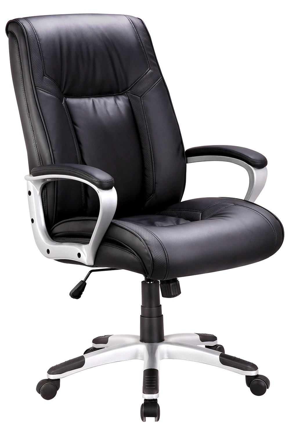 IntimaTe WM Heart Mid-Back Executive Office Chair, Faux Leather Computer Desk Chair, Ergonomic Design Adjustable Seat Height, Synchro Tilt Mechanism, 360 Degree Swivel, Black