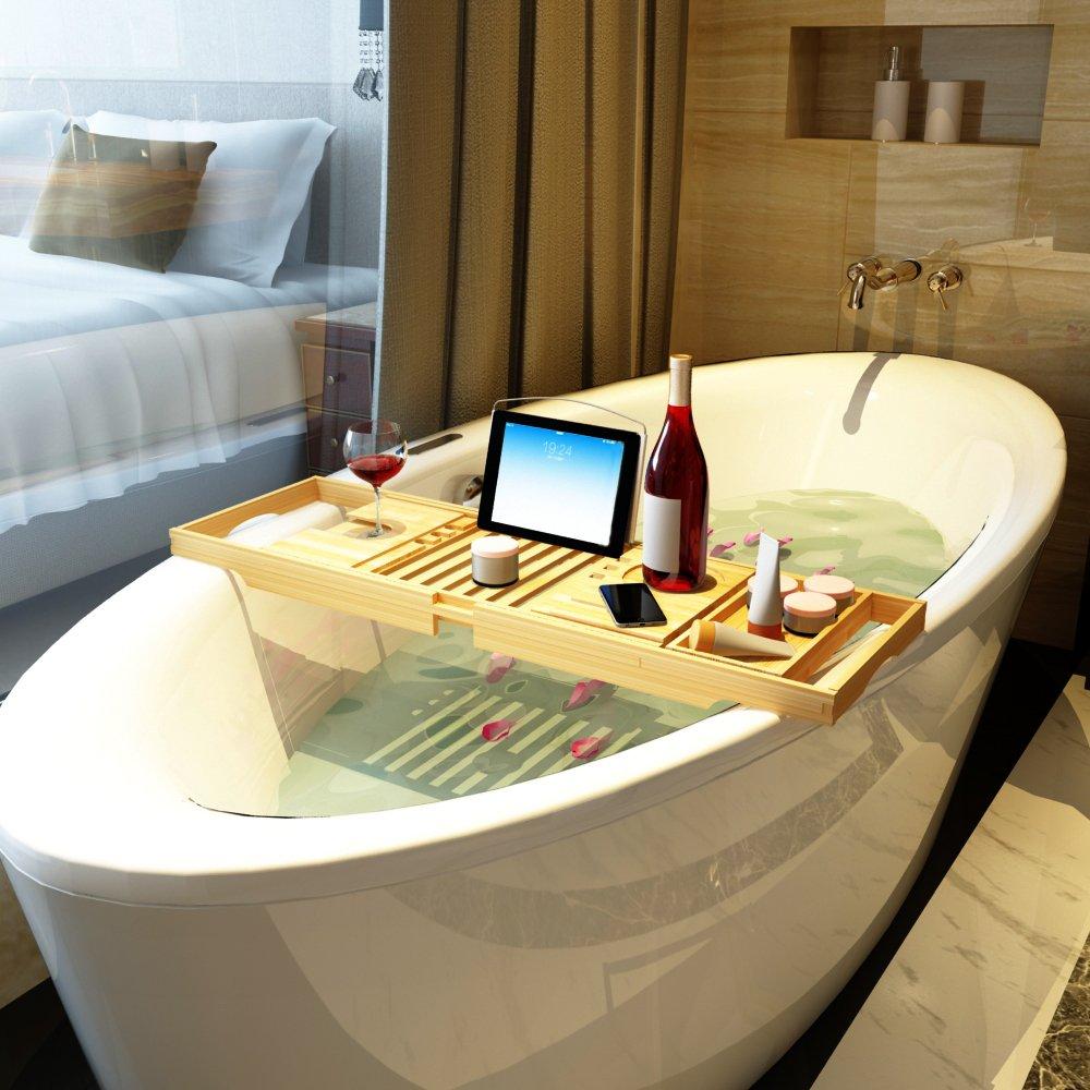Amazon.com: LIMAM Adjustable Bamboo Bathtub Caddy Tray Shower ...