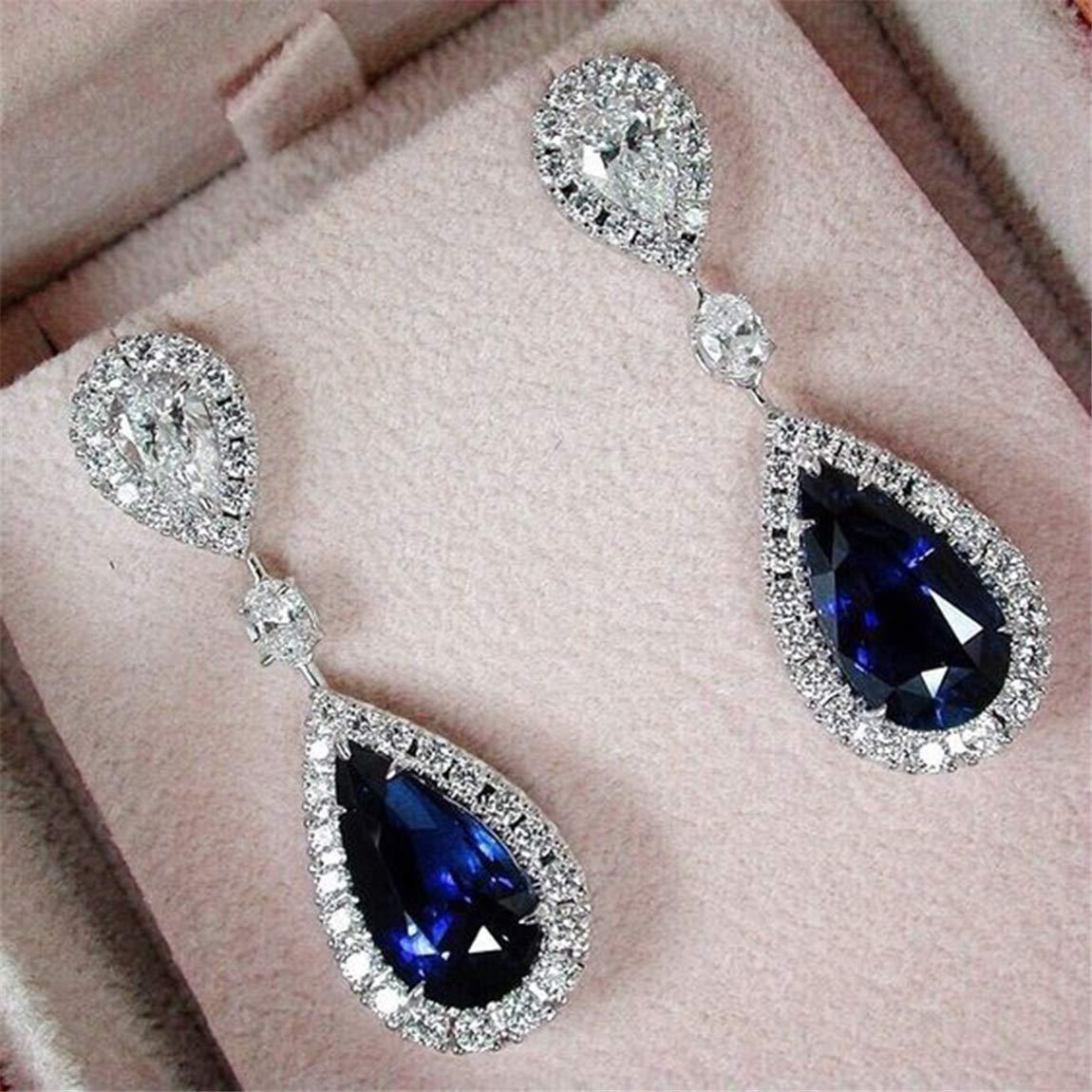 Weiy Waterdrop Shape Blue Sapphire Crystal Dangle Drop Earring Fashionable Charming Elegant Gorgeous Diamond Earring Engagement Wedding Bridal Women Girls Jewelry Gift